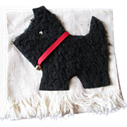 Kitsch Vintage 1950s Scottie Dog Hand Towel