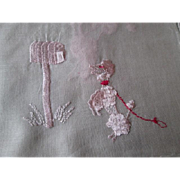 Pink Poodle Hanky Hankie Vintage 1950s Embroidered Handkerchief