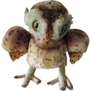 Steiff Wittie Owl 4322 Vintage 1955 Glow In The Dark Eyes Full ID