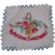 WWII Sweetheart Hanky Hankie Vintage 1940s Lavender Embroidery Lace