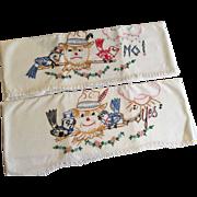 Scarecrow Yes No Pillowcases Vintage 1930s Embroidery White Cotton Pair