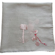 Pink Poodle Hankie Hanky Vintage 1950s Embroidery Dog