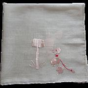 Pink Poodle Hankie Hanky Vintage 1950s Embroidery Dog
