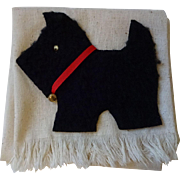 Kitsch Vintage 1950s Scottie Scotty Dog Guest Towel