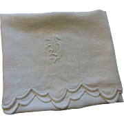 H Monogram Antique Towel Embroidery Roses Damask Old English