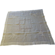 Fine Linen Vintage 1920s Tea Tablecloth