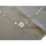 Arts and Crafts Natural Linen Tablecloth Embroidery Drawnwork