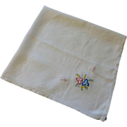 Vintage 1930s Tea Tablecloth Topper Cloth Embroidery Flowers Linen