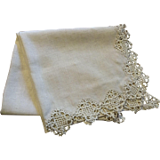 Antique Natural Linen Mantel Piano Dresser Scarf Crochet Lace Large