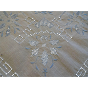 Art Deco Tea Topper Tablecloth Vintage 1920s Embroidery Openwork Blue White