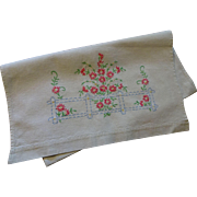 Vintage 1930s Embroidered Linen Dresser Scarf Table Runner Pink Daisies Fence