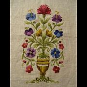 Antique Linen Crewel Work Urn Flowers 1900s Arts and Crafts