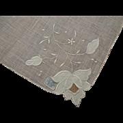 Deadstock Fine Linen Vintage Hanky Hankie Satin Stitch Flower Hand Rolled Tag Attached