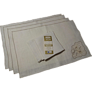 Vintage 1930s Fine Linen Placemats and Napkins Luncheon Set 4 Never Used With Belgium Tag