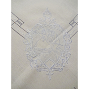 Art Deco Tea Tablecloth Vintage 1930s Appenzell Ethnic Dancers Embroidery Openwork