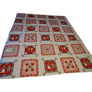 Deadstock Kitsch Vintage 1950s Print Tablecloth Cotton Fast Color 52x52 Square Ethnic Love Romance Music