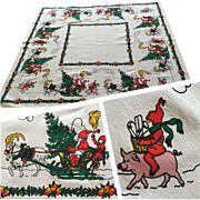 Vintage 1950s Christmas Print Tablecloth Santa Elf Sleigh Reindeer Pig Fruit