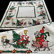 Vintage 1950s Christmas Print Tablecloth Santa Elf Sleigh Reindeer Pig Fruit