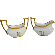 Hutschenreuther IT UNO Favorite Bavaria Cream Sugar Porcelain Set Arts and Crafts Early 1900s Monogrammed U
