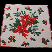 Vintage 1950s Poinsettia Christmas Hanky Hankie