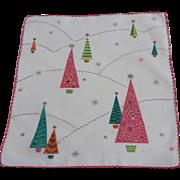 Mid Century Modern Christmas Hanky Hankie Vintage 1950s Cotton Textile
