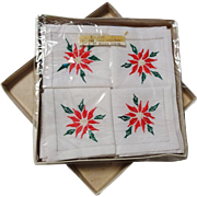 Set of 12 Christmas Poinsettia Cocktail Napkins Vintage 1950s New In Box Holiday Linens Gift