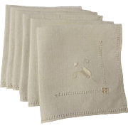 Arts and Crafts Linen Napkins Vintage 1930s Embroidery Hemstitched Set of 6