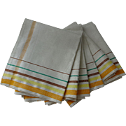 Irish Linen Tea Towel Set of 6 Vintage 1930s Fall Colors Stripes Thanksgiving Home Decor