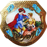 800 Silver Enamel Pill Box Ornate