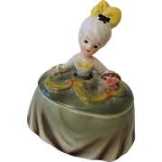 Kitsch Half Doll Vintage 1950s Ceramic Girl Dresser Jar Powder Box