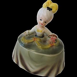 Kitsch Half Doll Vintage 1950s Ceramic Girl Dresser Jar Powder Box