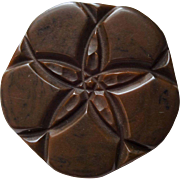 Large Deeply Carved Bakelite Button Vintage 1940s Brown Flower Early Plastic Sewing