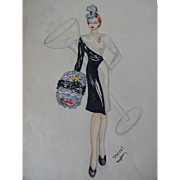 Pencil Drawing Watercolor Fashion Plate Vintage 1940s Martini Glass Cocktail Dress Accessories
