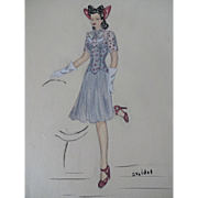 Artist Fashion Plate Vintage 1950s Pincurls Side Rolls Fit And Flare Dress Pencil Drawing Watercolor