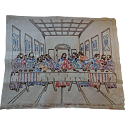 The Last Supper Embroidery Pure Belgian Linen Hand Embroidered From Betsy Ross Needlework of NY Pattern 16x20