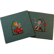 Pair Needlepoint Chair Seats Wall Hangings Vintage 1930s Cute Boy and Girl Handiwork