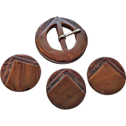 Art Deco Buckle Buttons Set Vintage 1940s Laminated Carved Wood