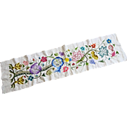 Large Linen Crewel Work Piano Scarf Table Runner Wool Flowers