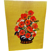 Large Vintage 1970s Poppies Crewel Work Embroidery Needlwork Flower Basket Wall Hanging Picture