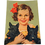 Vintage 1930s Girl Scottie Scotty Dog Calendar Print