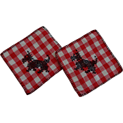 Scottie Scotty Dog Potholder Set Vintage 1930s Cross Stitch Red White Gingham