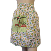 Kitsch Vintage 1950s Cotton Floral Apron Cocktail Hostess A Good Mixer Pocket