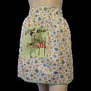 Kitsch Vintage 1950s Cotton Floral Apron Cocktail Hostess A Good Mixer Pocket