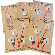 Vintage 1930s Lady Washington Mother Of Pearl Buttons Five Matching Cards