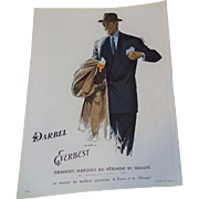 Mens Vintage Fashion Advertisement Vintage 1950s French Darbel Everbest Ad Man