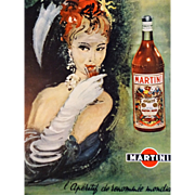 Vintage 1950s Original French Art Martini Advertisement