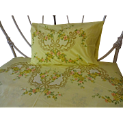 Yellow Bedding Sheets Pillowcase Vintage 1970s Floral Shabby Chic MW JCPenney Full Size