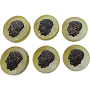 Celluloid Julius Caesar Buttons Vintage 1930s Set of 6 Figural Cameo
