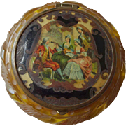 Bakelite Compact Vintage 1930s Powder Deeply Carved Applejuice Renaissance Scene - Red Tag Sale Item