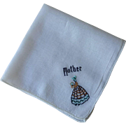Vintage 1940s Mother Handkerchief Embroidery Hanky Hankie Southern Belle